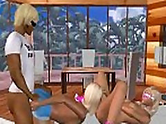 Two sexy 3D cartoon blondes sharing a hard cock