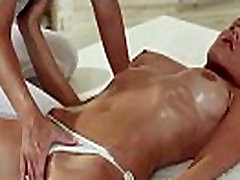 Brunette in panties gets pussy massage