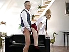 Older guy fucks stocking girl