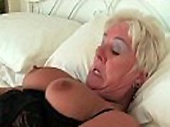 Chubby granny in asian romance and sex stockings masturbates