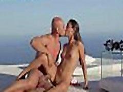 Beautiful lovers havingsex by the ocean