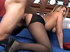 Busty babe having sex in crotchless stable owner