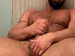 Solo muscley bear jerks off