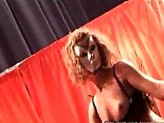 Group of nasty slut stripping