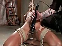 BDSM ebony bound to floor for pussy play from her master