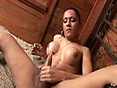Sexy sissy gay cum shemale hottie tugging on her hard cock