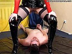 Blonde mistress pissing on guy