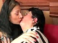 Mature and young lesbians get horny