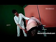 Horny big mature ass gets spanked hard