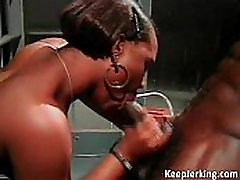 Ebony sexy milf strapon tease receives big black dick