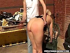 Mandy has her ass spanked outside