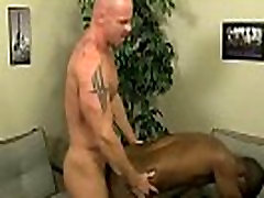 Mature hunk fucking an ebony stud in his tight ass