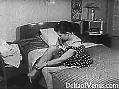 Vintage Porno 1950 - servicing eight busty mature men uncensored tube nylon legjob, Voyeur Fuck