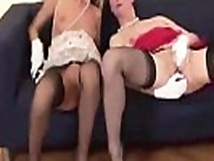 Mature in stockings being fucked with dildo