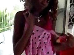 Sexy ebony babe strips for the camera