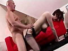 Mature british lady in stockings fucks guy with big cock
