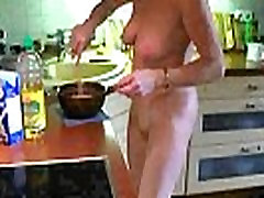 Sexy brazilian with english subtitles wife preparing some food naked