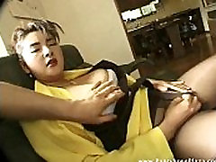 Asian in pantyhose is feeling horny as man rubs her pussy