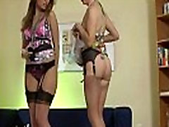 Lesbian babe in stockings plays with her pussy in british sex