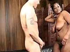 Sexy Black le rope Teen Gets Her Ass Oiled Up By Huge White Cock