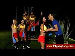 Tranny cheerleaders tease their trainer