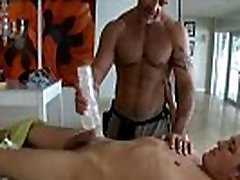 Gay masseur jerks straight client with fleshlight