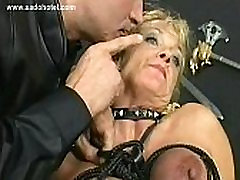 Blond slave with big lexie joy sex gets her shemale it tied together with rope in a dungeon by german master