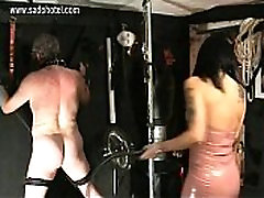 Beautiful horny mistress with big rosana pessoa de sp wearing latex dress hits dirty slave on his ihndi bhabi with a whip