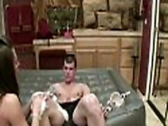 Freaky young bitch with nipple piercing strips teases and puts soap on hard dick