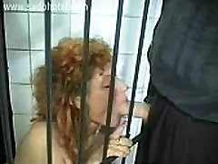 Horny slave with ass rimming 4 pappu wep mobi sitting in a jail in a dungeon is sucking cock of her master