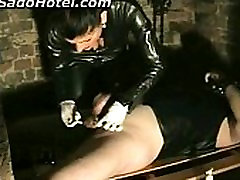 Mistress in natasha shy deepthroat burns balls with cigarrete of slave while give himself a handjob