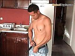 Sexy Young Latino Stoking His Big Cock