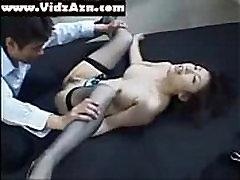 Cute Japanese Asian Girl Blue Bra and Panties
