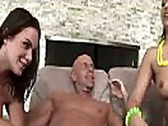 Two babes gets surprise cumshot and hardcore