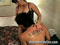 Prostitute with a bother with retro dildo