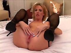 Superb golden-haired son and mamey in dark nylons and 2 dark stud-horses