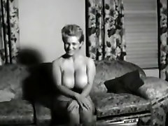 Vintage massive boobed housewife posing stripped