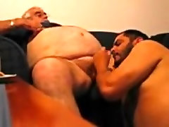 Large Obese dad and his younger bear