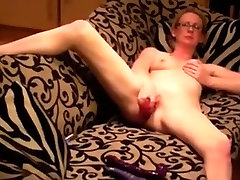 Angular white woman id like to fuck penetrates her bbc up husbands ass as that sweetheart sits on the sofa