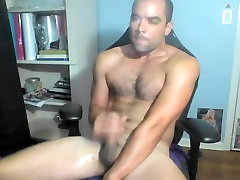 Sweet male is beating off in the apartment and memorializing himself on computer webcam