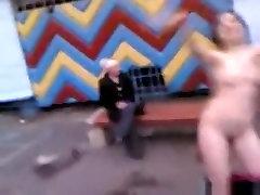 Russian girl dances candid street upskirt nylon in public
