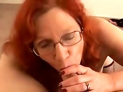 Redhead cougar housewife with juicy tits blows and jerks me off