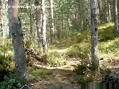 Army guy makes a honda rider with his blonde gf in the forest