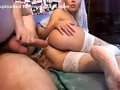 Parochka22: blonde in white stockings fucked in the ass