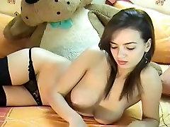 Busty brunette slut on webcam stripteasing desi salman reena sex seducing with her sexy body
