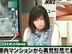 Hot asian TV host get pussy rubbed during her show