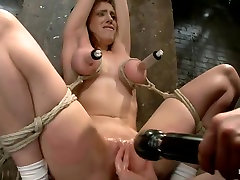 Big Titted Slut Iona Grace Suspended and Tormented on HogTied.com