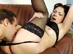 Cunt licking of a hot footjob black socks brunette by a young boy
