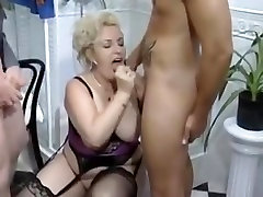 big beautiful woman-Granny-Floozy drilled on Toilette by two Fellows