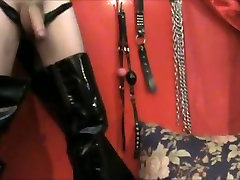 Very hot latex corset movie with fetishes and anal joy